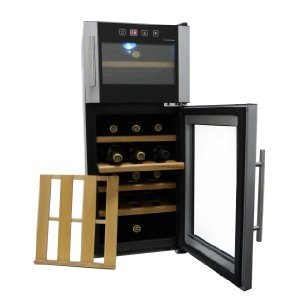 HOMEIMAGE 21 Bottle Dual-zone Thermoelectric Wine Cooler with Wooden Rack - HI-21CD