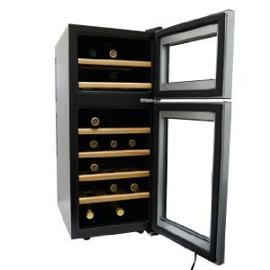 HOMEIMAGE HI-21D Dual-Zone Wine Cooler  -classy wooden shelving in each cooling compartment.